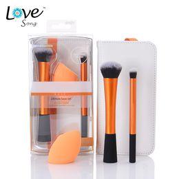 Wholesale 3 Piece Professional RT Makeup Brush Sponge Set Orange Metal Handle Cosmetic Tools Techniques Eyeshadow Powder Make Up brush
