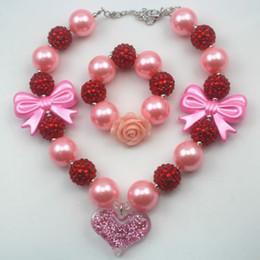 fashion jewelry Valentine's day gift pink heart chunky girls&kids necklace&bracelet set CB703