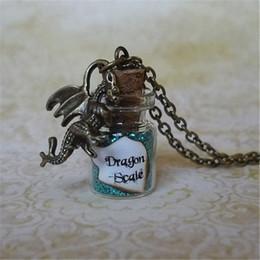 12pcs lot Turquoise Dragon Scale Necklace Fairy Dust Jewelry Dragon Charm Glass Bottle Pendant Dragon Pendant