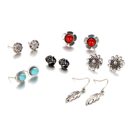 New retro earrings combination, possession of silver pine, stone flowers, leaves, turquoise earrings 6 pairs of suits, free shipping.