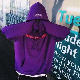 Wholesale VETEMENTS Hoodies Men Sexual Fantasies AUTOMNE HIVER Hip Hop Kanye Skateboard Catwalk Supremo Oversize Sweatshirts Unisex Cloth