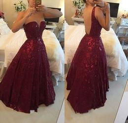 Wholesale 2017 Barbara Melo A Line Burgundy Sweetheart Prom Dress Crystal Beading Open Back Floor Length Formal Dresses Evening Wear Red Carpet