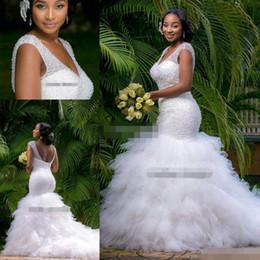 Vintage Plus Size Mermaid Wedding Dresses Beading Sheer Deep V Neck Backless Corset Ruffles Tulle 2019 Spring Garden Wedding Bridal Gowns