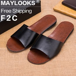 Brand New 2017 Spring Summer Autumn Casual Men Sandals Cow Leather Linen Slippers Summer Shoes Flip Flops Free Shipping