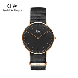 Wholesale New Black Dial Luxury Watches DW Watches mm Men s Watches Daniel Wellington Watch Black Nylon Watches Quartz women watches Wristwatches