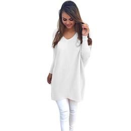 Compra On-line Senhoras jumpers casuais-Atacado-Full-Sleeved Long Sweater Mulheres V-Neck Sólidos Partido Pullovers Ladies Outono Inverno Moda Comfort Escritório Pull Femme Jumpers Tops