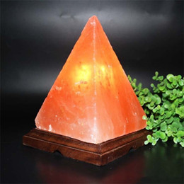 Wholesale HemingWeigh Natural Air Purifying Himalayan Rock Salt Obelisk Lamp with Wood Base Spring salt lamp Pyramid Himalaya crystal salt lamp