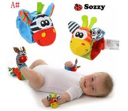 Chaussettes lamaze hochet à vendre-New Lamaze Style Sozzy Hochet de poignet Ensemble de jouets Zebra Rattle and Socks Jouets éducatifs pour bébés (1set = 2 poches poignet + 2 pcs chaussettes)