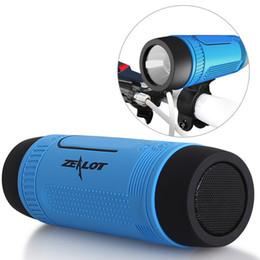 Wholesale Zealot S1 Bluetooth Outdoor Bicycle Speaker Portable Subwoofer Bass Speakers mAh Power Bank LED light Bike Mount Carabiner