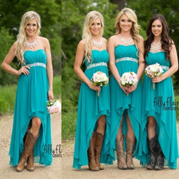 Cheap Hi Lo Country Style Chiffon Bridesmaid Dresses A Line Strapless High Waist Wedding Party Maid of Honor Gowns Custom Made