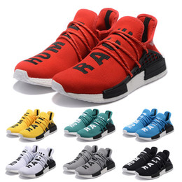 Wholesale 2017 new Mens and Womens Pharrell Williams NMD HUMAN RACE shoes In Black White Yellow Green Blue White and Grey buy cheap
