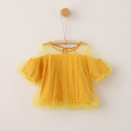 Wholesale Everweekend Girls Tulle Ruffles Tees Cute Baby Amarillo Gris y Verde Color Verano Tops