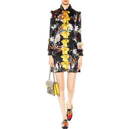 Plus Size 2017 Trend Women Runway Celebrity Long Sleeve Flower Printed Bow Slim Straight Dress Vintage Vestido 100% Silk Dresses