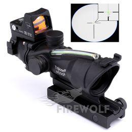 Wholesale 2017 NEW Trijicon ACOG x32 Riflescope Red Green Optical Fiber Rifle scope Red Dot scope