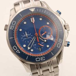 Hommes robe gros de montre en Ligne-Vente en gros Hommes montre de marque de luxe Co-Axial Chronographe océan planète quartz mouvement en acier inoxydable cadran bleu grands montres montres habillées pour hommes