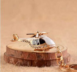 Wholesale Plane Aircraft Key Chains Rings Helicopter Plane Crystal Rhinestone Purse Bag Buckle Pendant Keyrings KeyChains