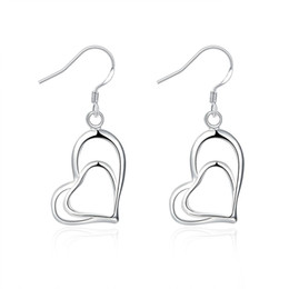 Fashion 925 Sterling Silver Plated Jewelry Double Hearts Fine Earrings For Women Party Earring Wholesale Jewelry