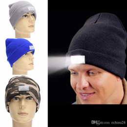 Wholesale Christmas Hand Work - Unisex 5 LED Knitted Beanie Hat for Camping, Grilling, Auto Repair, Jogging, Walking,Handyman Working, Hands Free Led Beanie Cap 12 Colors