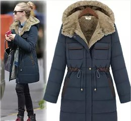 Wholesale Fashion Womens coats large size long section trench coat women slim thickening liner coats wool collar hooded coats for women free shiipping