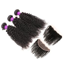 Descuento 7a encierro del pelo de la onda profunda 13 * 4 Encerado Frontal 7A Grado Peruvian Virgin Hair Deep Wave 3 Paquetes Peruvian Deep Wave Con Cierre Frontal 100% Cabello