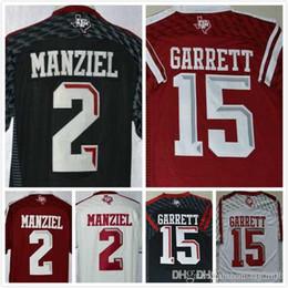 Promotion johnny maillots manziel Hommes Johnny Manziel Jersey 2 Myles Garrett Jersey 15 Maillots de football universitaire 100% cousus Noir Rouge Blanc Taille S-3XL Livraison gratuite