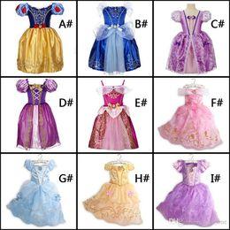 Wholesale fast shipping belle princess dress girl purple rapunzel dress Sleeping beauty princess aurora flare sleeve dress for party birthday in stock