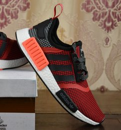 Wholesale 2017 Adidas Originals Online Top Quality Discount NMD PK Boost Real Boost Runner R1 Grey Primeknit Shoes Ultra boost With Box