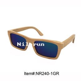 fashion women's mirror green lens natural bamboo sunglasses