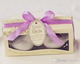 Hot sale 400PCS=200SETS Ceramic Love Bird Salt and Pepper Shaker Wedding Gifts Favors for Guests Customized acceptable