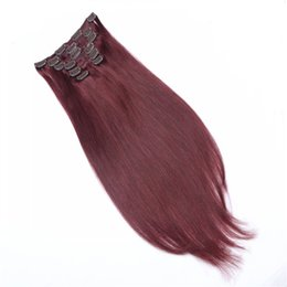 100% Unprocessed Clip In Hair Extensions 7pcs set 16clips 16-26inch #118 Red Wine 8A Grade Brazilian Remy Human Hair Extensions Dyeable