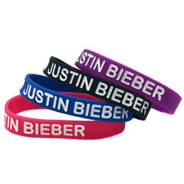 Wholesale 100PCS Lot I Love Justin Bieber Silicon Wristband Bracelet Filled In Colour, Perfect Gift for Music Fans