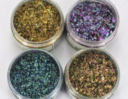¡Gran venta! 1 caja Chameleon Flakes Efecto mágico escamas Multi cromo Nail polvo Glitter Sequins Nail Art Gel Esmalte de uñas Manicura desde escama de lentejuelas fabricantes