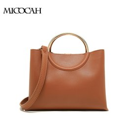 Hot selling Women Handbags Metal Ring Cross Body bag Brown Black Color PU Leather GL30045