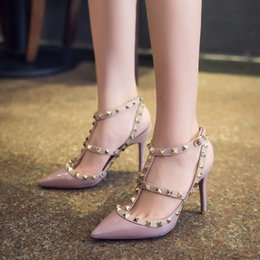 new luxury rivet sandals women high heel shoes 2017 brand desgin pointed toe gladiator sandals shoes sexy wedding party shoes women pumps