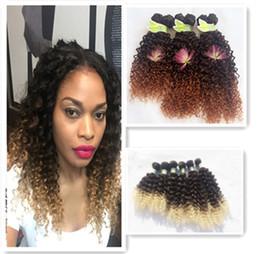 Promotion 27 bouclés ombre Fashionkey 6Pcs Lot noir Blonde Wave Wave Weave Bundles T1B / 27 Ombre Water Kinky Hair Curly Hair Extensions Cheap 2 Tone Ombre Curly Hair wz114
