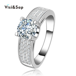 Visiap White Gold color ring fashion Jewelry wedding Rings for women vintage bague engagement bijoux Wholesale anel VSR137