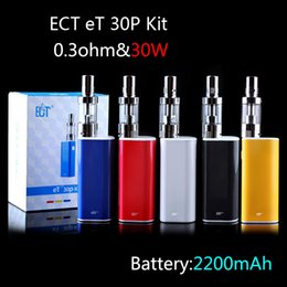 Wholesale DHL Free W ET30P Vape E Cigarette Mechanical Box Mod mah Rechargeable Battery ml Real Fog Mini Atomizer Wick Air