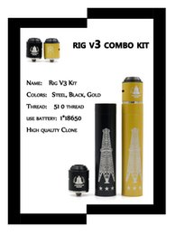 Wholesale 2017 Newest Hot selling Rig V3 Combo Kit Mechanical Mod with American Made RDA Clone Hybrid Combo Starter Kit E Cigarettes free shipment