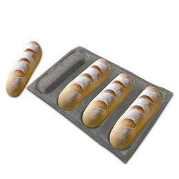 9 10 inch Baguette Baking Pan 4 Molds French Bread Silicone 4 Loaf Baguette Baking Tray Perforated Sub Roll Pan