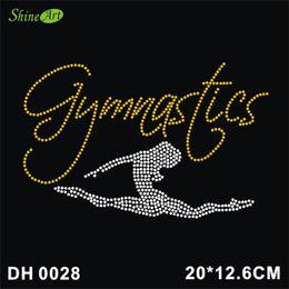 Free shipping Gymnastic Dancer Iron On Hotfix Crystal T Shirt Motif Patch Gem DIY DH0028