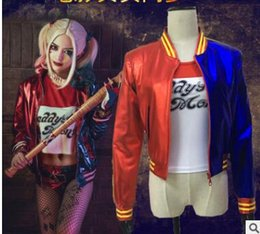 Wholesale Suicide Squad Harley Quinn Cosplay Costume Clothing Women Embroidered Batman Arkham Asylum City Joker Movie Halloween Anime Top Jacket