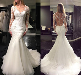Wholesale Alluring Mermaid Wedding Dresses Sheer Neck Appliqued Lace Tulle Long Sleeves Bridal Wedding Gowns Chapel Train