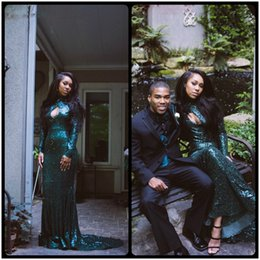 Bling Sparkly Green Mermaid African Black Girl Prom Dresses Keyhole Sequins Lace Evening Party Gowns Vestidos Robe De Soiree