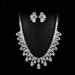 Wholesale Crystal Chokers For Brides - Real gold plated zircon bling Fashion water drop diamond tassel choker necklace with stud earring for bride wedding &bling carpet party