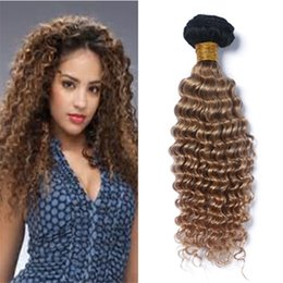 27 bouclés ombre à vendre-8A Cheveux frisés bouclés Brésilien 3 Bundles Deep Wave brésilienne cheveux extensions Ombre Brown cheveux humains tissage deux tons 1b 27 pas cher