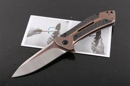 Carbono especial en Línea-Oferta especial ZT0801CF Flipper plegable cuchillo D2 60HRC Satin Blade TC4 Titanium AlloyCarbon fibra Handle sistema de rodamiento de bolas EDC Pocket Kniv