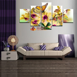 5 Pcs Wall Pictures For Living Room Noble and Beautiful Phalaenopsis HD Canvas Print Painting Artwork Flower Canvas Paintings