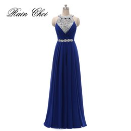 Sexy Halter Prom Dresses Long Crystals Sequins Evening Party Gowns Backless Formal Bridesmaids Dress Real Photo Under 100 Free Shipping