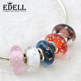 EDELL 925Sterling silver Murano Glass Beads Fits DIY Pandora Bracelet Bubble Charm Loose Beads Original Women DIY Jewelry Wholesale