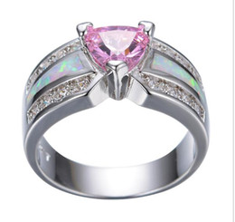 Wholesale The new women s fashion pink opal inlay platinum engagement wedding rings